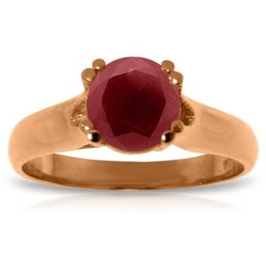 SOLID GOLD SOLITAIRE RING WITH NATURAL RUBY